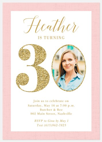 Sparkly Milestone Adult Birthday Invitations