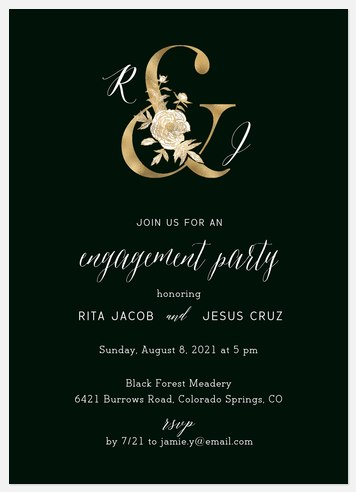Golden Ampersand Engagement Party Invitations