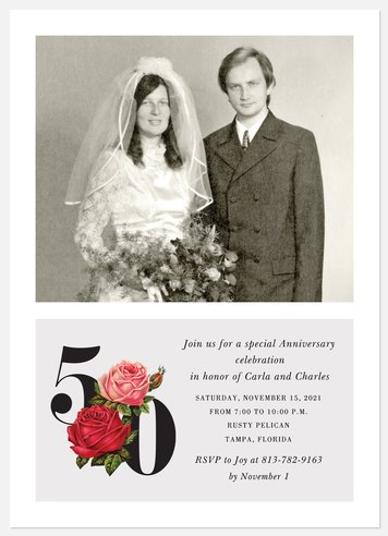 Floral Numbers Anniversary Invitations