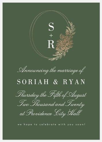 Gilded Wreath Wedding Announcements
