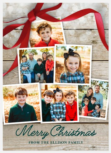 Rustic Ribbon Holiday Photo Cards