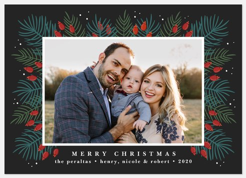 Festive Fir Border Holiday Photo Cards