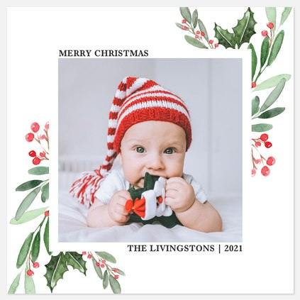 Painted Corners Holiday Photo Cards