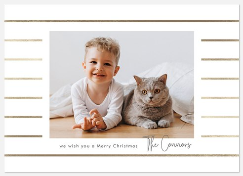 Gilded Stripes Holiday Photo Cards