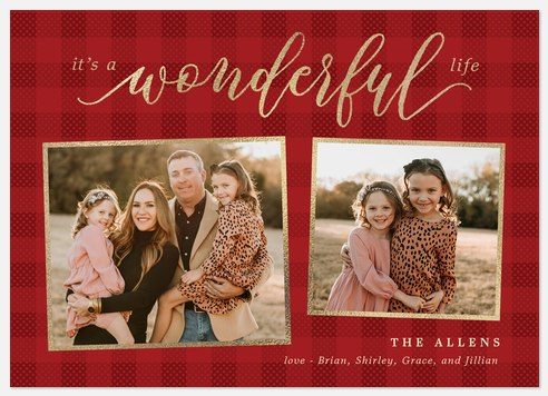 Wonderful Plaid Holiday Photo Cards
