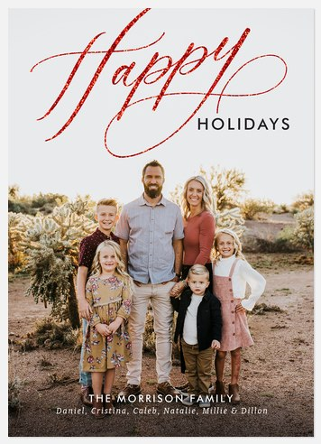 Glittering Swash Holiday Photo Cards