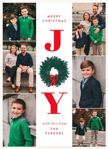 Vertical Joy Personalized Holiday Cards