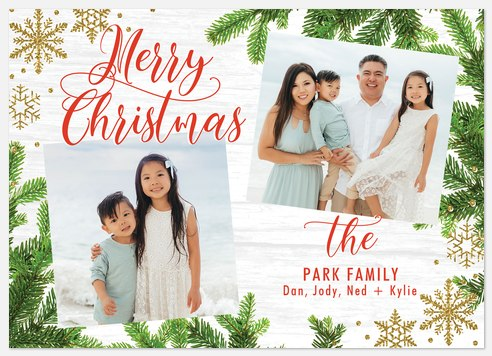 Snowflake Branches Holiday Photo Cards