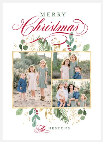 Golden Trio Holiday Photo Cards