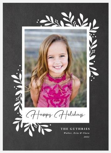 Chalkboard Laurels Holiday Photo Cards