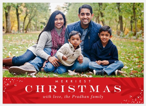 Shaded Holly Holiday Photo Cards