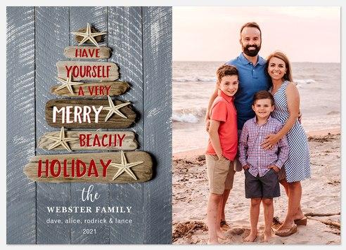 Beachy Driftwood Holiday Photo Cards