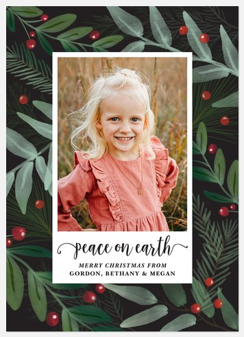 Mixed Foliage Holiday Photo Cards