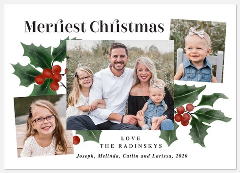 Painted Holly Holiday Photo Cards