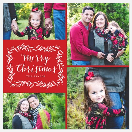 Homespun Laurels Holiday Photo Cards