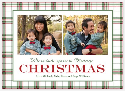 Tartan Duo Holiday Photo Cards