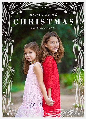 White Winter Frame Holiday Photo Cards