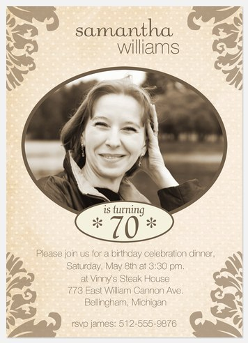 70th Birthday Invitations Adult