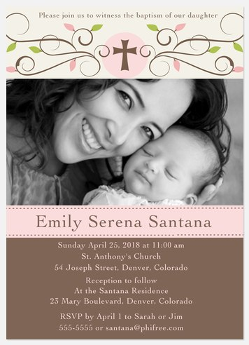 Natural Scrolls Baptism Invitations