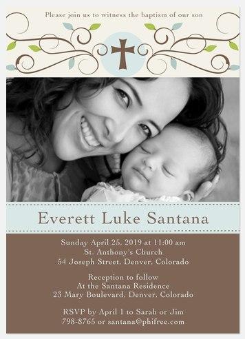 Natural Scrolls Baptism Invitations