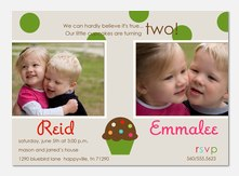 Polka dot Sprinkles - Twin Birthday Invitations
