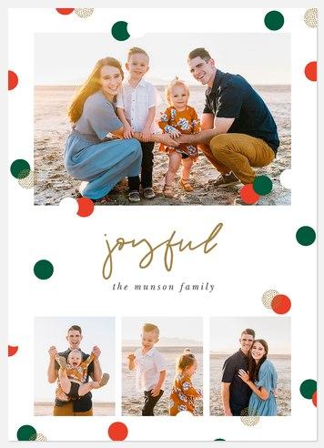 Confetti Burst Holiday Photo Cards