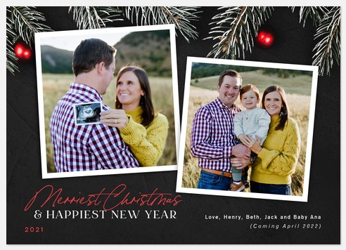 Frosted Evergreen Holiday Photo Cards