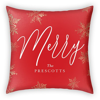 Golden Snowflakes Custom Pillows