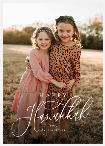 Modern Script Hanukkah Photo Cards