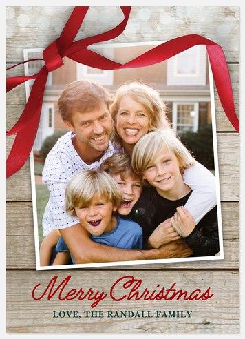 Country Ribbon Holiday Photo Cards