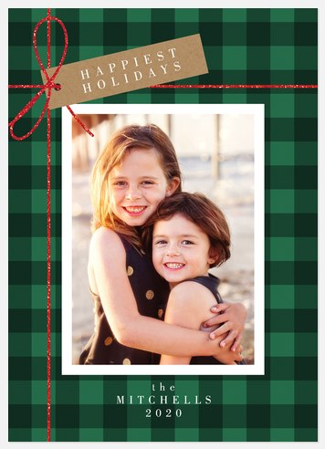 Plaid Wrapping Holiday Photo Cards