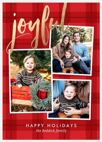 Joyful Plaid Holiday Photo Cards
