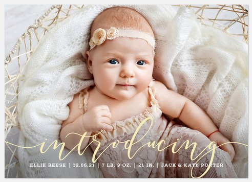Elegant Introduction Baby Birth Announcements