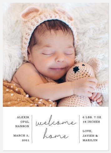 Simple Welcome Baby Birth Announcements