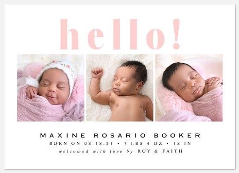 Grand Hello Baby Birth Announcements