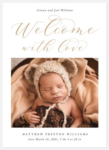 Scripted Welcome Baby Birth Announcements