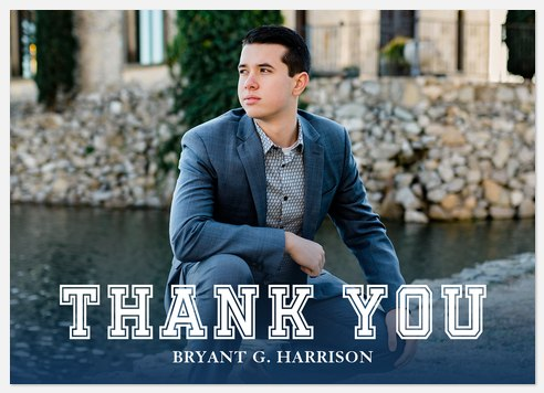 Varsity in Blue Thank You Cards