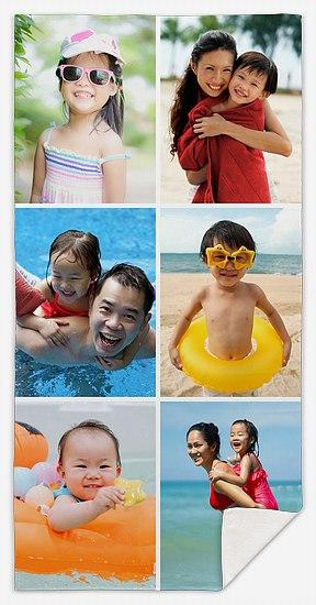 Six-Photo Collage Custom Beach Towels