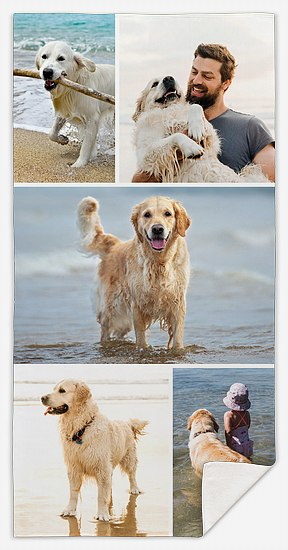 Five-Photo Collage Custom Beach Towels