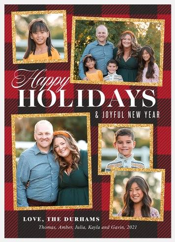 Gingham Glitz Holiday Photo Cards