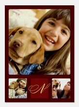 Brown Triple Initial - Personalized Photo Cards