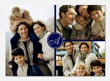 Blue Script Initial - Personalized Photo Cards