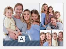 Diagonal Stripe Blue - Personalized Photo Cards