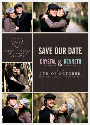 Modern Heart Date Save the Date Photo Cards