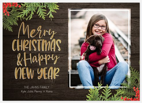 Rustic Inline Holiday Photo Cards