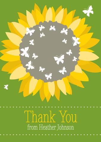 Thank You Cards , Sunflower Burst Design