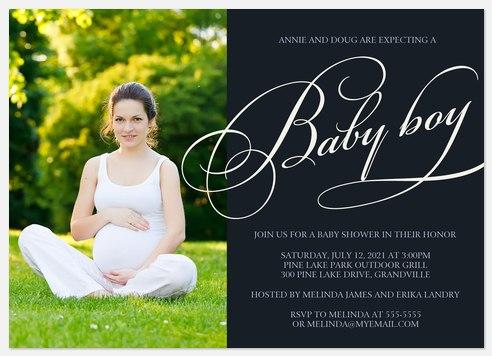 Her Baby Boy Baby Shower Invitations
