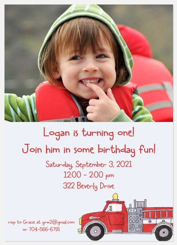 Fireman Fun Kids' Birthday Invitations