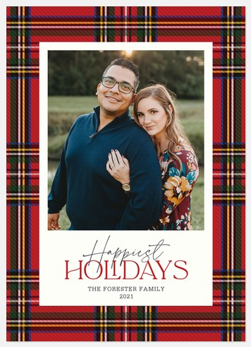 Flannel Frame Holiday Photo Cards