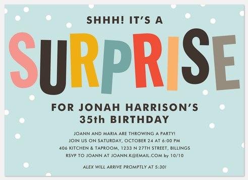 Colorful Surprise Adult Birthday Invitations